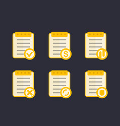 Documents icons flat style vector