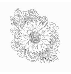Doodle pattern with black and white sunflower vector
