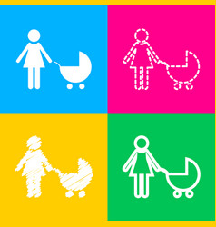 Family sign four styles of icon on vector