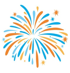 Fire work in orange and blue color vector image vector image