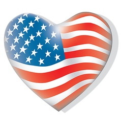 Flag of america heart shape vector