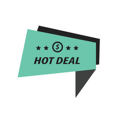 Label hot deal black green vector