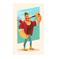lumberjack man mascot character hold axe vector image vector image