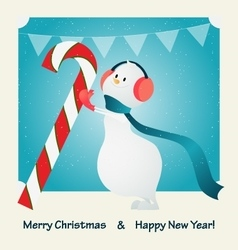 Merry christmas happy snowman and candy vector