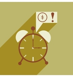 Modern flat icon with shadow alarm clock vector