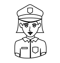 Monochrome contour half body of policewoman vector