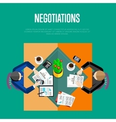 Negotiations concept top view workspace vector