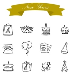New year icons collection vector