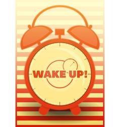 Orange Alarm Clock with text Wake up vector image