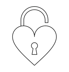 Padlock open shaped heart loved outline vector
