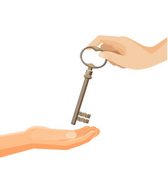 process of passing keys from hand to hand vector image vector image