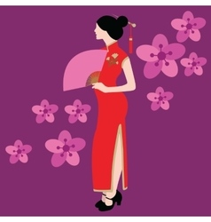 qipao chinese traditional dress costume clothes vector image