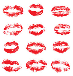 red lipstick kisses vector image vector image