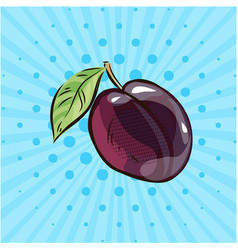 ripe plums on a blue background dots lines vector image