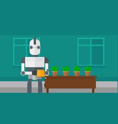 Robot housekeeper watering flowers vector