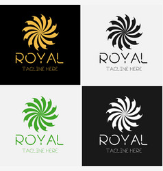 Royal flower logo template set vector