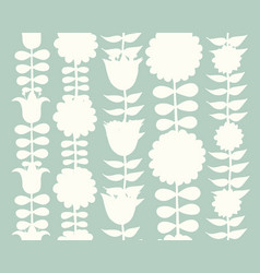 Scandinavian folk style flowers seamless pattern vector