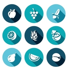 Set of Fruits Icons Apple Grape Banana vector image vector image