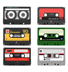 set of retro audio cassettes tape and audio vector image