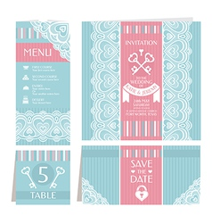 Set of retro wedding cards vector image vector image