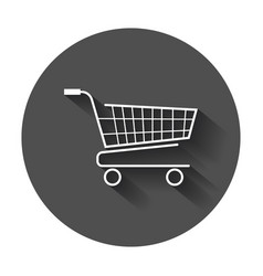 Shopping cart icon flat on black round background vector