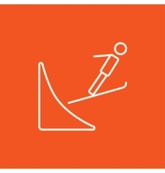 Ski jumping line icon vector