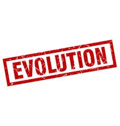 Square grunge red evolution stamp vector