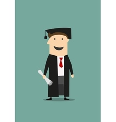Student in graduation gown and hat with diploma vector image