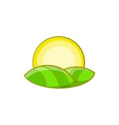 Sun over fields of france icon cartoon style vector
