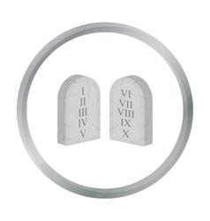 Ten commandments icon in cartoon style isolated on vector
