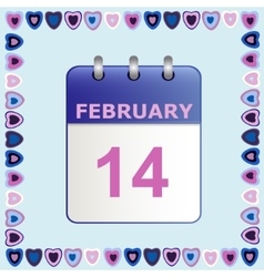 Valentine s day calendar icon in frame of hearts vector