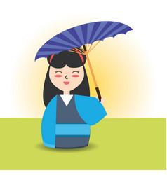 Woman with kimono and umbrella decoration desgn vector