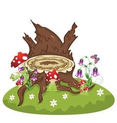 Tree Stump and Mushrooms vector image