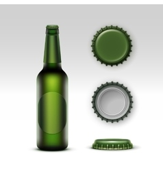 Creen bottle beer with green label and set of caps vector