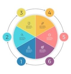 Pie chart six steps infographics design vector