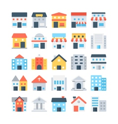 Building colored icons 5 vector