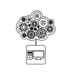 Concept of maintenance service of desktop computer vector