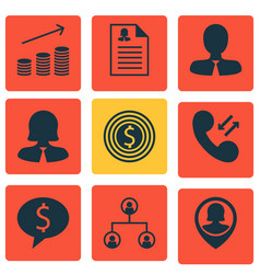 Set of 9 human resources icons includes cellular vector
