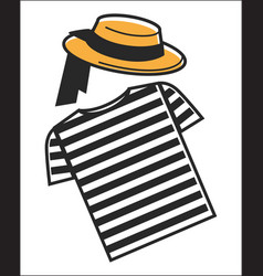 Italy or venice gondolier shirt and hat symbols of vector