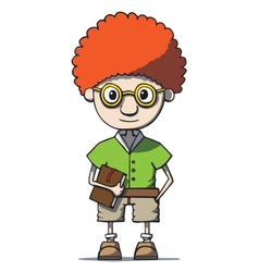 Funny cartoon redhead nerd genius in glasses with vector