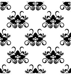 Black floral arabesque seamless pattern vector