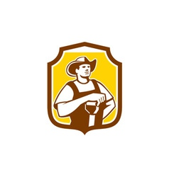 Organic farmer shovel shield retro vector