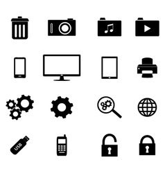 Set of flat icons - business and technology vector image