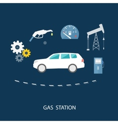 Car in gas station fuel petrol dispenser pump vector