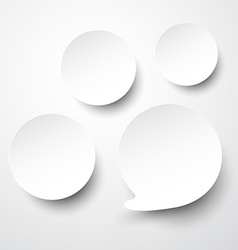 Paper white round speech bubbles vector