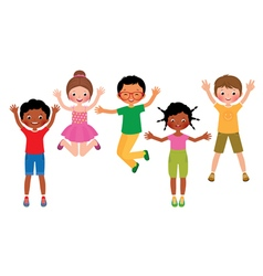 Group of happy jumping children isolated on white vector