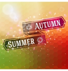 Bright ribbon with summer and autumn arrows icons vector
