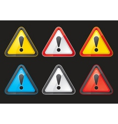 Set hazard warning attention sign color vector