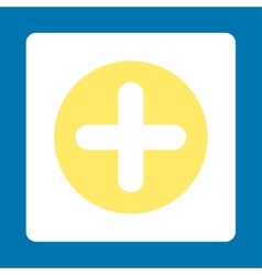 Create flat yellow and white colors rounded button vector