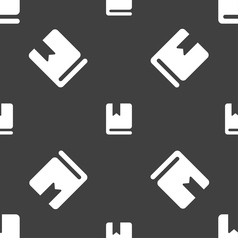 Bookmark icon sign seamless pattern on a gray vector